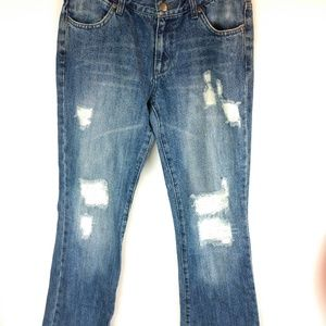 Paper Denim Cloth Distressed Low Rise Boot Jeans
